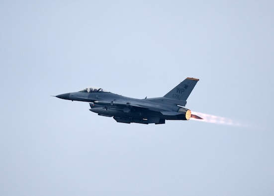 A U.S. Air Force F-16 Fighting Falcon assigned to the 8th Fighter Wing takes off from Kunsan Air Base, Republic of Korea, Dec. 3, 2018. The F-16 is a high-performance weapons system that has flown thousands of sorties in support of operations across the globe. (U.S. Air Force photo by Tech. Sgt. Charles McNamara)