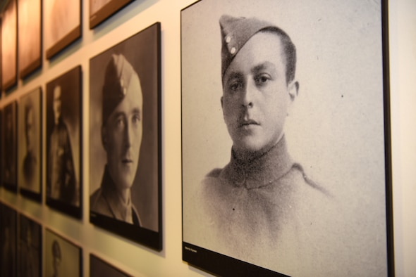 Photos of Royal Flying Corps Airmen who perished during World War I are displayed in Hangar II at the RAF Museum, London, England, Nov. 30, 2018. The RFC supported the British Army by employing artillery co-operation, photographic reconnaissance and eventually aerial battles with German pilots. (U.S. Air Force photo by Airman 1st Class Brandon Esau)