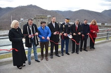 A ceremony to celebrate the installation of the final anchors in the Bluestone Dam on the New River at Hinton, W.Va., took place Dec. 7, 2018.