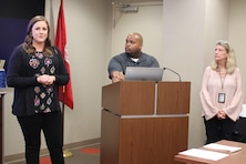 Cara Beverly (left), Bobby Jackson, and Lisa Abernathy speak to the supervisory class Dec. 4, 2018 on critical incident stress management during a graduation ceremony at the U.S. Army Corps of Engineers Nashville District Headquarters in Nashville, Tenn.  The knowledge and process of how to utilize the program can help a fellow supervisor or employee in a time of need.  (USACE photo by Ashley Webster)