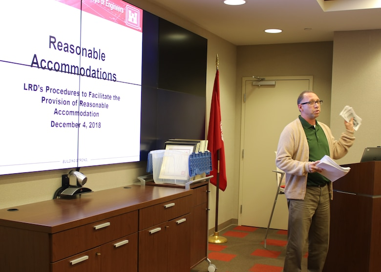 David Claussen, Equal Employment Opportunity specialist, speaks to supervisors on reasonable accommodations during a graduation ceremony Dec. 4, 2018 at the U.S. Army Corps of Engineers Nashville District Headquarters in Nashville, Tenn. David explained what forms, funding, and required documents were needed to file a request.  Ultimately this training would possibly help a supervisor take care of their employees.  (USACE photo by Ashley Webster)