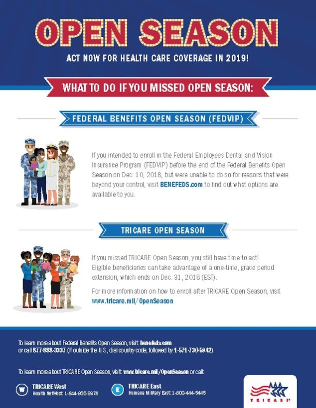 This infographic describes the options available if you missed enrolling in the Federal Employees Dental and Vision Insurance Program (FEDVIP) before the end of TRICARE Open Season. (TRICARE Communications graphic)