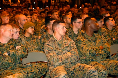 Approximately 300 Marines from units all across II Marine Expeditionary Force receive an orientation brief after arriving at Vaernes Air Station, Norway, from Camp Lejeune, N.C., on Oct. 3, 2018, in order to participate in Exercise Trident Juncture 2018. Trident Juncture 18 enhances the U.S. and NATO Allies' abilities to work together collectively to conduct military operations under challenging conditions. (U.S. Marine Corps photo by GySgt. Rebekka S. Heite)