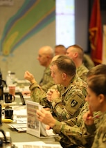 Defense CBRN Response Force (DCRF) members attend a Mission Planning Conference (MPC) hosted by JTF-CS at Fort Eustis, Va., Dec. 3-4, 2018. The MPC prepared and strengthened communication roles of the Defense Chemical, Biological, Radiological and Nuclear (CBRN) Response Force (DCRF) and other DoD CBRN Response Enterprise (CRE) entities for participation in response operations. When directed, JTF-CS is ready to respond in 24 hours to provide command and control of 5,200 federal military forces located at more than 36 locations throughout the nation in support of civil authority response operations to save lives, prevent further injury and provide critical support to enable community recovery. (DoD photo by U.S. Air Force Tech. Sgt. Michael Campbell/ Released)