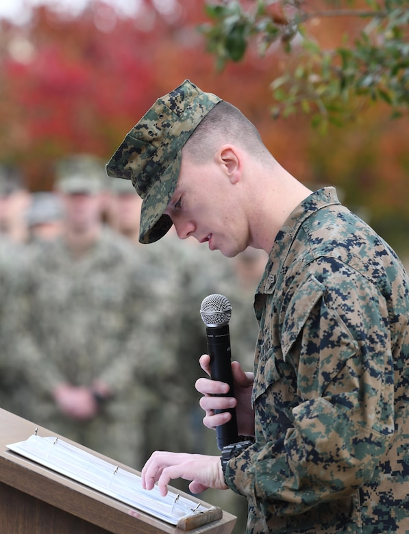 U.S. Marine Sgt. Brandon French, Keesler Marine Detachment instructor, delivers remarks during the Center for Naval Aviation Technical Training Unit Keesler Pearl Harbor 77th Anniversary Remembrance Ceremony on Keesler Air Force Base, Mississippi, Dec. 7, 2018. More than 100 Keesler personnel attended the event to honor those lost in the Dec. 7, 1941 Pearl Harbor attacks. (U.S. Air Force photo by Kemberly Groue)