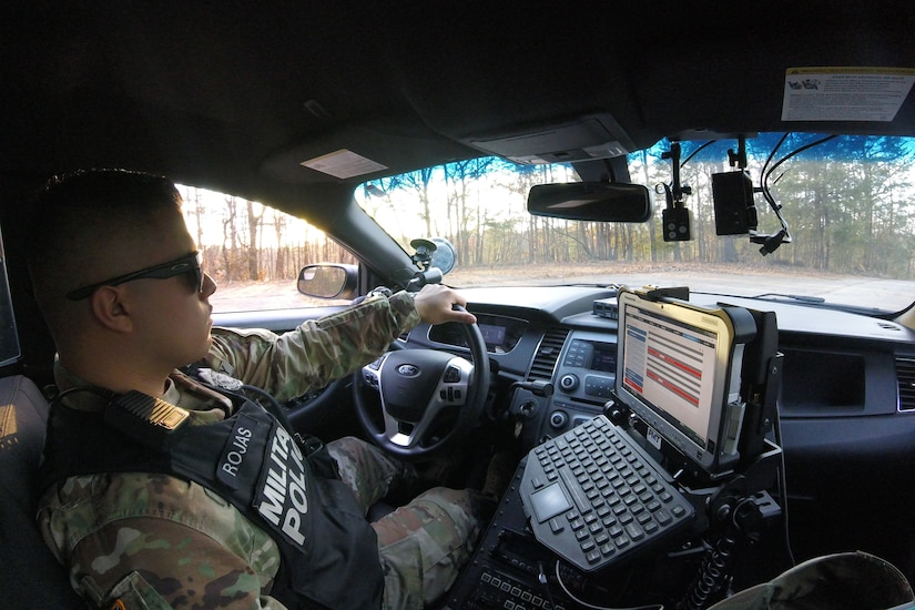 Specialist Rojas in his car
