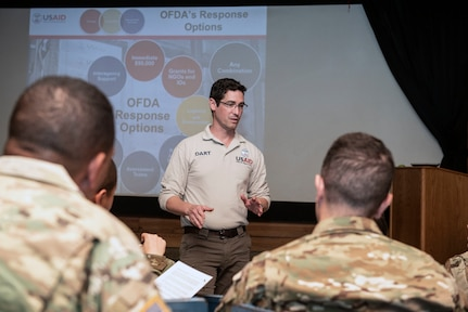 A U.S. Agency for International Development representative teaches a Joint Humanitarian Operations Course at Soto Cano Air Base, Honduras, Dec. 3, 2018.