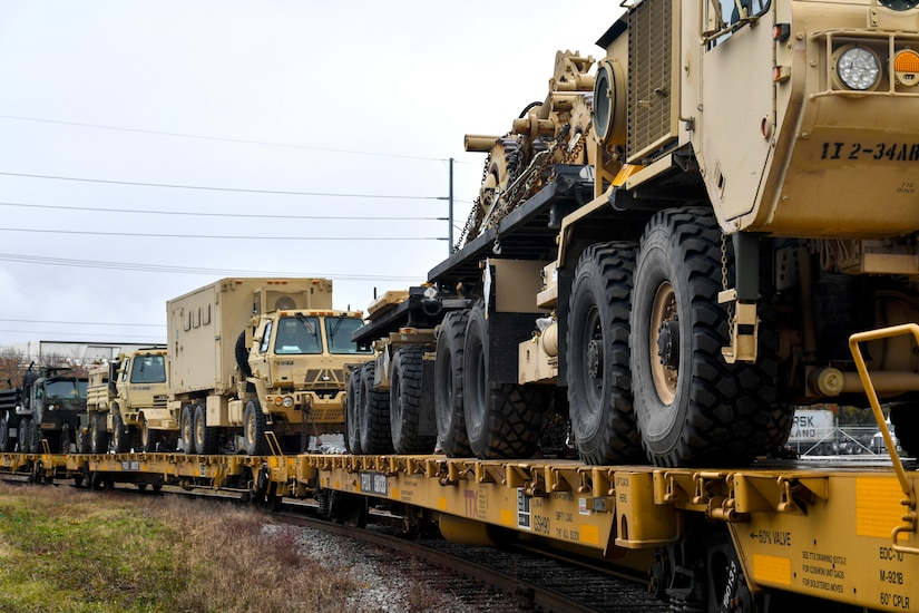 A train brings in military equipment for an armored brigade deployment Dec. 10, 2018, at Joint Base Charleston, S.C.