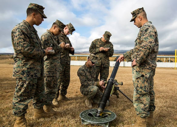 U.S. Marines with Weapons Company, 2nd Battalion, 23 Marine Regiment train with mortars on Camp Fuji, Japan, on Nov. 29, 2018. This is the first time in 13 years that 2/23 is active and deployed to the Indo-Pacific region. They will conduct multiple bilateral training exercises in various countries to improve their combat readiness and strengthen international relationships. (U.S. Marine Corps photo taken by Lance Cpl. Marcus Allen)