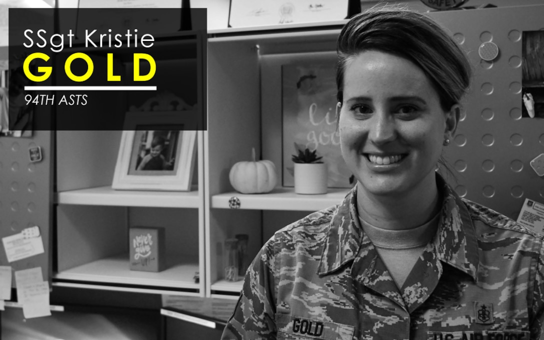This week's Up Close features Staff Sgt. Kristie Gold, 94th Aeromedical Staging Squadron NCOIC of command support staff. Up Close is a series spotlighting individuals around Dobbins Air Reserve Base. (U.S. Air Force graphic/Staff Sgt. Andrew Park)