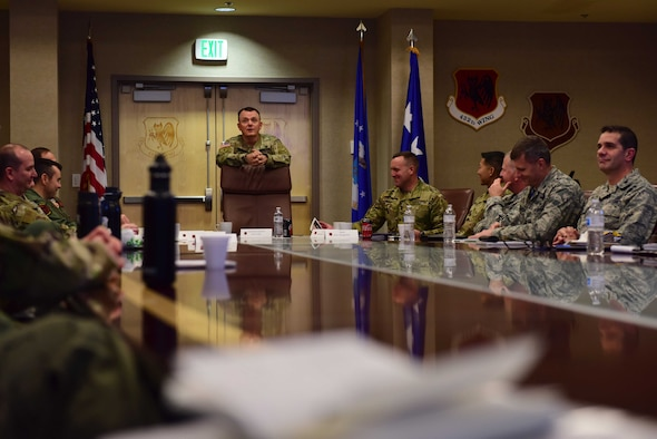 U.S. Army Lt. Gen. Paul Funk, III Armored Corps and Fort Hood, Texas, commanding general talks with wing leadership about the effects ISIS had on the Middle East at Creech Air Force Base, Nevada, Dec. 10, 2018. Funk was the commanding general of the Combined Joint Task Force - Operation Inherent Resolve for U.S. Central Command and wanted to express his appreciation for the role Creech Airmen played in OIR. (U.S. Air Force Photo by Airman 1st Class Haley Stevens)