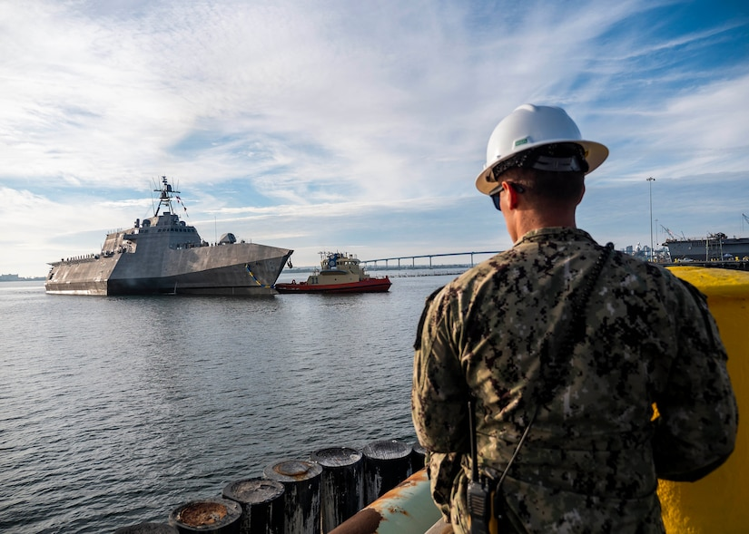 The future USS Tulsa arrives at its new homeport, Naval Base San Diego, Calif., after completing its maiden voyage from the Austal USA shipyard in Mobile, Ala.