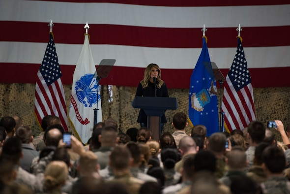 First Lady Melania Trump speaks to U.S. Army Soldiers, U.S. Air Force Airmen and local school children at Joint Base Langley-Eustis, Virginia, Dec. 12, 2018.