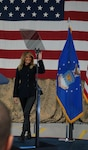 First Lady Melania Trump visited Joint Base Langley-Eustis Soldiers and Airmen, Dec. 12, 2018. Mrs. Trump addressed the service members, DoD civilians, family members and students from across Hampton Roads taking time to shake their hands and pose for photographs in an aircraft hangar at the 1st Fighter Wing. (Courtesy photo by David Phillips/ Released)