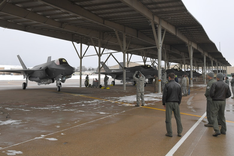 The 421st Fighter Squadron at Hill Air Force Base, Utah, received its first F-35A Lightning II Dec. 12. The squadron is the last of three squadrons in Hill's 388th Fighter Wing to take possession of combat-ready aircraft, bringing the 388th Fighter Wing closer to full strength. Lt. Col. Richard Orzachowski, 421st FS commander and 1st Lt. Ryan Allen, the squadron's youngest wingman, flew the jets from the Lockheed Martin plant in Fort Worth, Texas into a snow-covered Hill AFB. The arrival of the first jets in the 421st brings the total number of F-35As at Hill to 52 and is a big step toward the 388th Fighter Wing having a full complement of 78 F-35A Lightning IIs by the end of 2019. (U.S. Air Force photo by Todd Cromar)