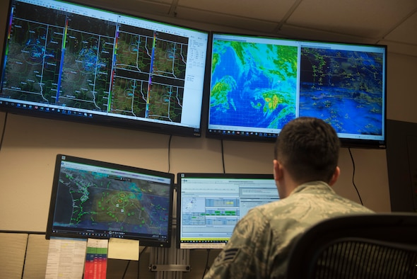 Senior Airman Christopher McGrath, 92nd Operation Support Squadron weather flight forecaster journeyman, monitors weather patterns and systems Dec. 4, 2018, at Fairchild Air Force Base, Washington. Daily operations of a weather Airman include performing daily mission execution forecasts and terminal aerodrome forecasts, which are forecasts within five nautical miles of Fairchild. These forecasts become translated into a five-day forecast used for general mission planning on base. (U.S. Air Force photo/Airman 1st Class Lawrence Sena)