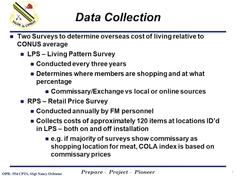 The 354th Comptroller Squadron of Eielson Air Force Base created Cost of Living Allowance (COLA) Survey slides to inform active duty members and families on the importance of participation in the COLA Survey for Alaska. (Graphic slide created by 354th Comptroller Squadron)