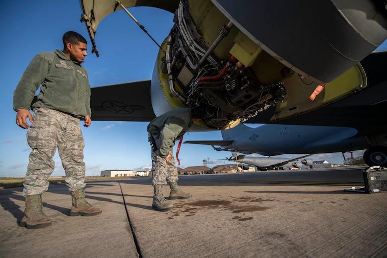 U.S. Air Force Tech. Sgt. Torrey Sanchez, 100th Aircraft Maintenance Squadron aerospace propulsion lead technician, and Senior Airman Ian Hernandez-Mancilla, 100th AMXS aerospace propulsion journeyman, inspect a KC-135 Stratotanker engine at RAF Mildenhall, England, Nov. 30, 2018. The aerospace propulsion shop maintains the engines, as well as conducts periodic inspections and unscheduled maintenance.  (U.S. Air Force photo by Senior Airman Luke Milano)