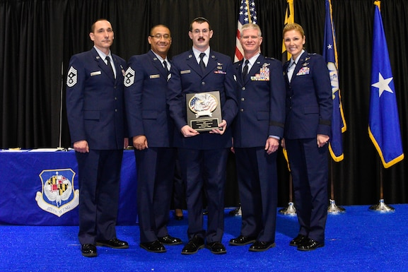 Members of the 175th Maryland Air National guard participate in the Outstanding Airman of the Year Ceremony, Dec. 2, 2018 at Martin State Airport, Middle River, Md. The ceremony recognized nominated Airmen selected for superior performance in their field during the calendar year. (U.S. Air National Guard photo by Senior Airman Sarah M. McClanahan)