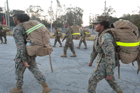 Marines with Marine Corps Logistics Base Albany commemorated the 77th anniversary of the attack of Pearl Harbor with a 3-mile Warrior Hike aboard the installation, Dec. 7. The attack was a surprise military strike by the Imperial Japanese Navy Air Service against the United States naval base at Pearl Harbor, Hawaii Territory, on the morning of Dec. 7, 1941. More than 50 Marines took the hike to remember the lessons learned from the attack and why it's important to always train and be ready for the unknown. (U.S. Marine Corps photo by Re-Essa Buckels)