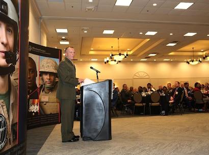 181128-M-UF252-659 U.S. Marine Corps Lt. Gen. Charles G. Chiarotti, deputy commandant, Installations and Logistics, addresses attendees during a Marine Corps Association & Foundation hosted professional dinner at the Hilton Garden Inn, Albany, Ga., Nov. 28, 2018.