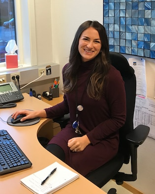 Jennifer Comstock, School Liaison Officer for the 426th Airbase Squadron, works in her office at the Jåttå Military Compound in Stavanger, Norway, Dec. 4, 2018. The 426th serves as the U.S. National Support Element for the NATO Joint Warfare Centre; 17 unique functional specialties deliver base-level support to approximately 260 U.S. military and civilian personnel and dependents. (U.S. Air Force Courtesy Photo)