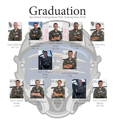 Specialized Undergraduate Pilot Training Class 19-03 graduates after 52 weeks of training at Laughlin Air Force Base, Texas, Dec. 14, 2018. Laughlin is the home of the 47th Flying Training Wing, whose mission is to train the next generation of multi-domain combat aviators, deploy mission-ready warriors and develop professional, confident leaders. (U.S. Air Force graphic by Airman 1st Class Anne McCready)