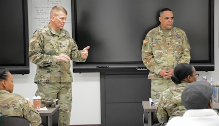 Lt. Gen. Jeffrey Buchanan and Command Sgt. Maj. Alberto Delgado, U. S. Army North (Fifth Army) command team, addressed students recently in the Sexual Harassment/Assault Response and Prevention (U.S. Army SHARP) Foundation Course at held at the Army Medical Department Center and School, Army Health Readiness Center of Excellence at Joint Base San Antonio-Fort Sam Houston.
