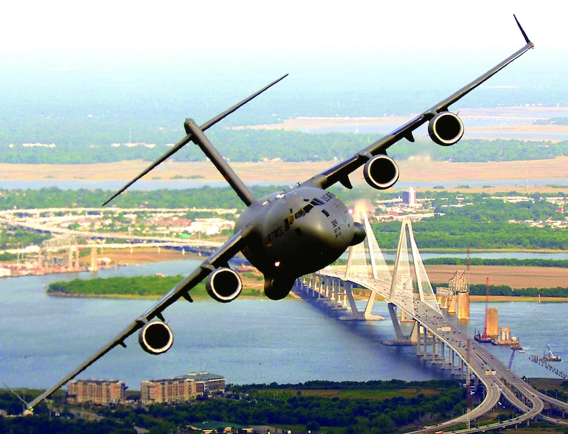 A C-17 Globemaster III from the 14th Airlift Squadron, Charleston Air Force Base, S.C., banks over the Arthur J. Ravenel Bridge in Charleston, S.C., during a training mission May 16, 2006. (U.S. Air Force photo/Tech. Sgt. Russell E. Cooley IV)