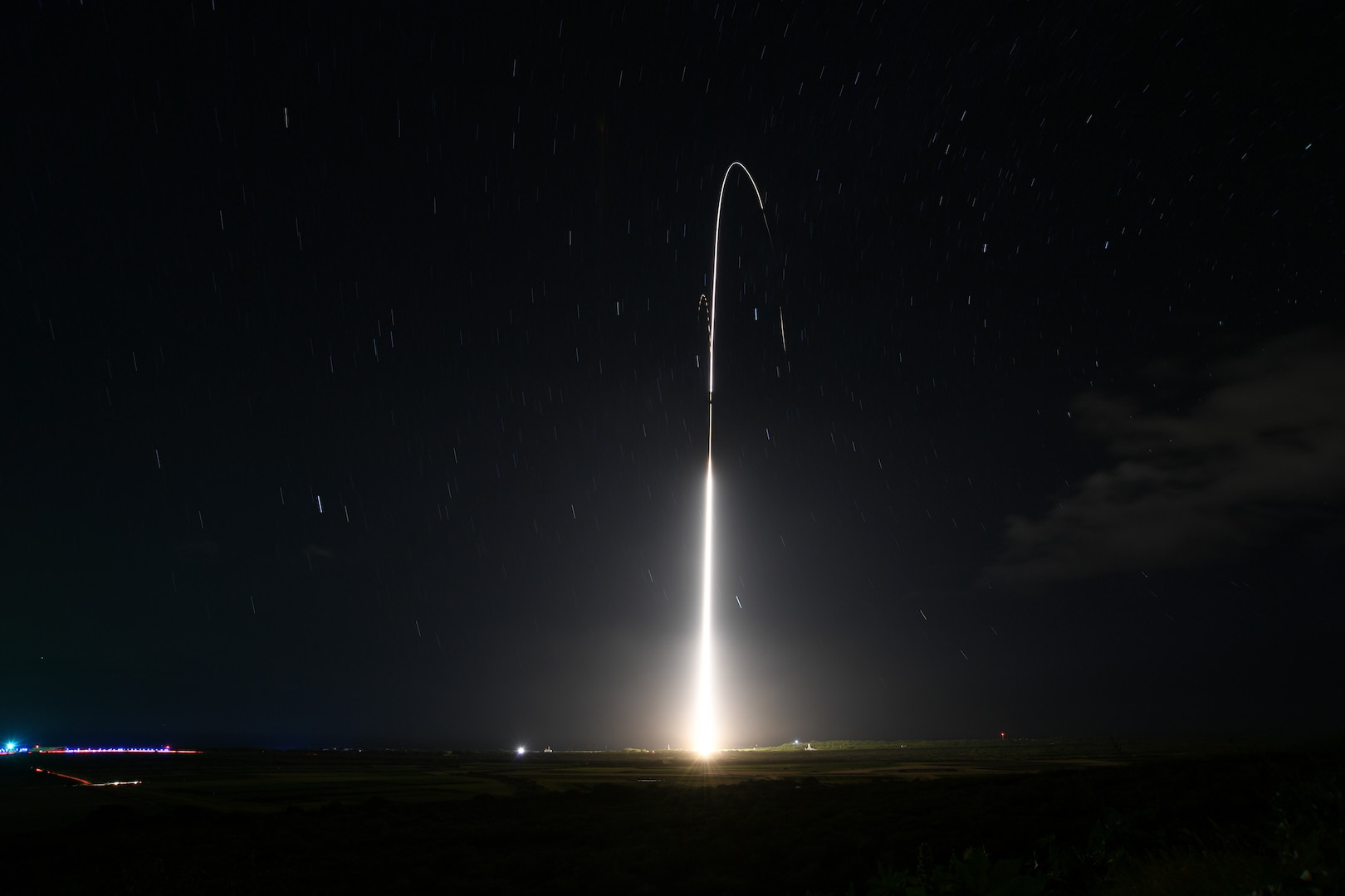 KAUAI, Hawaii (Dec. 10, 2018) A Standard Missile (SM) 3 Block IIA is launched from the Aegis Ashore Missile Defense Test Complex at the Pacific Missile Range Facility at Kauai, Hawaii, Dec. 10, 2018, to successfully intercept an intermediate-range ballistic missile target in space. This is the third successful intercept out of five intercept tests for the SM-3 Block IIA missile. Aegis shore-based facilities will be equipped with the SM-3 Block IIA missiles to strengthen America's short- and intermediate-range missile defense strategy.