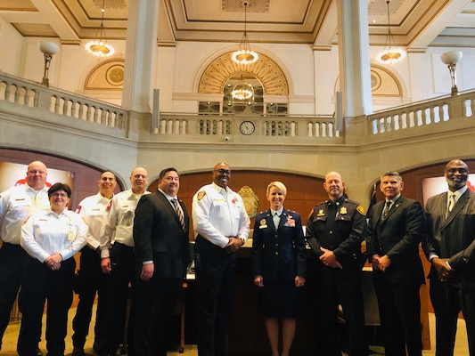 Joint Base San Antonio and the City of San Antonio have entered into a nine-year mutual aid and support agreement that will allow for more efficient response and recovery actions during emergencies. Brig. Gen. Laura L. Lenderman, 502d Air Base Wing and JBSA commander, along with San Antonio Fire Department Chief Charles Hood, San Antonio Police Department Chief William McManus, Deputy City Manager Erik Walsh and other city officials, were on hand for the signing of the agreement at San Antonio City Hall Nov. 29. Gen. Lenderman and Chief Hood were the signatories for the document.