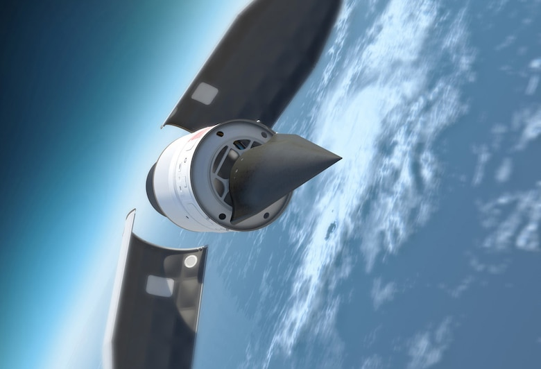 A Defense Advanced Research Products Agency illustration depicts DARPA's Falcon Hypersonic Test Vehicle as it emerges from its rocket nose cone and prepares to re-enter the Earth's atmosphere.
