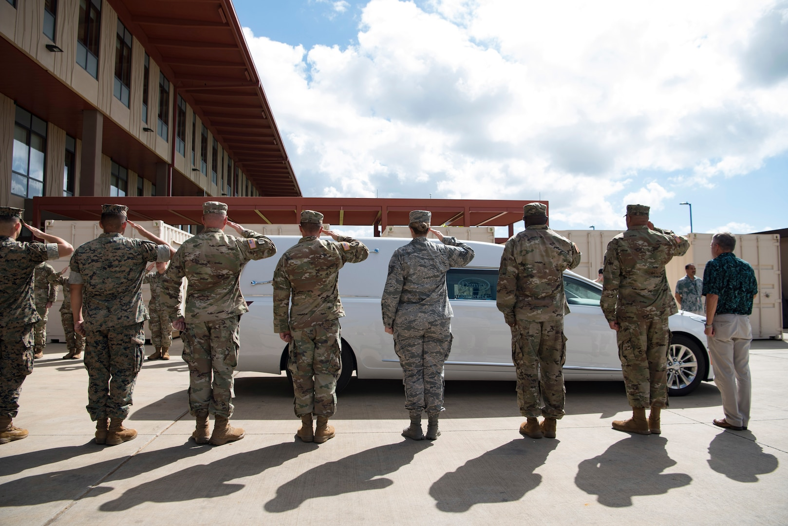 Members of the Defense POW/MIA Accounting Agency (DPAA) render honors during a chain of custody event for the recently identified remains of U.S. Army Cpl. Albert Mills at Joint Base Pearl Harbor-Hickam, Hawaii, Nov. 9, 2018. Mills, a member of Company F, 2nd Battalion, 5th Cavalry Regiment, 1st Cavalry Division during the Korean War, was transferred and buried in his hometown of Dallas. DPAA conducts global search, recovery and laboratory operations to provide the fullest possible accounting for our missing personnel to their families and the nation.