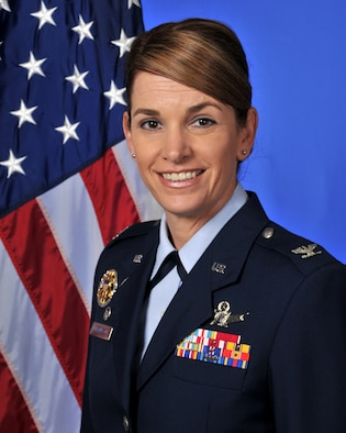 Then Col. Michele Edmondson poses for an official photo during her tenure as the 81st Training Wing commander at Keesler Air Force Base, Miss., in 2015. Edmondson promoted to the rank of brigadier general in August and is slated to assume command of the U.S. Air Force Academy's Cadet Wing next Summer. (U.S. Air Force photo)