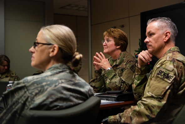 Lt. Gen. Dorothy Hogg, Air Force Surgeon General, is briefed on the 56th Medical Group's mission, Dec. 12, 2018, at Luke Air Force Base, Ariz.