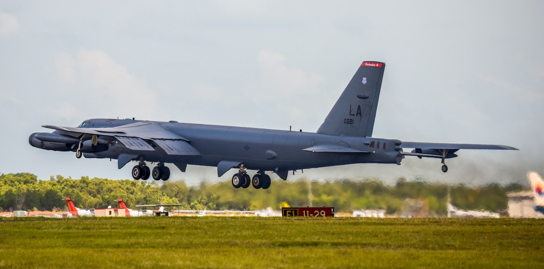 A U.S. Air Force B-52 Stratofortress bomber, assigned to the 96th Expeditionary Bomb Squadron, deployed from Barksdale Air Force Base, Louisiana, takes off from Royal Australian Air Force Base (RAAF) Darwin, Australia, to return to Andersen Air Force Base, Guam, Dec. 9, 2018. The B-52 was in RAAF Darwin, Australia participating in exercise Lightning Focus, an Australian training exercise designed around improving, developing and integrating partner capabilities as part of Enhanced Air Cooperation (EAC) under the Force Posture Initiative between the United States and Australia. (U.S. Air Force photo by Senior Airman Christopher Quail)