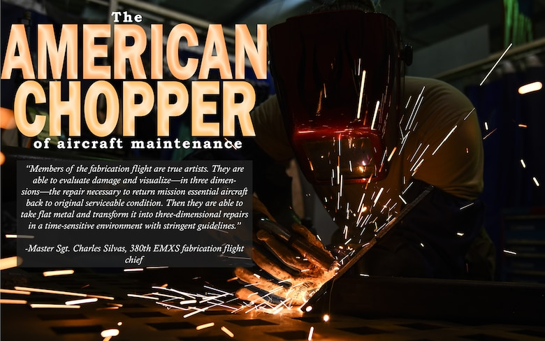 U.S. Air Force Senior Airman Courtnee Grafton, 380th Expeditionary Maintenance Squadron metal technician, welds a piece of metal at Al Dhafra Air Base, United Arab Emirates, Dec. 9, 2018. The 380th EMXS fabrication flight is in charge of identifying and repairing aircraft structural damage.  (U.S. Air Force graphic by Senior Airman Mya M. Crosby)