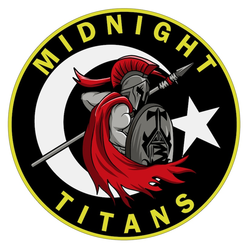 Picture of the Midnight Titans logo featuring a titan in the middle holding a spear and shield.