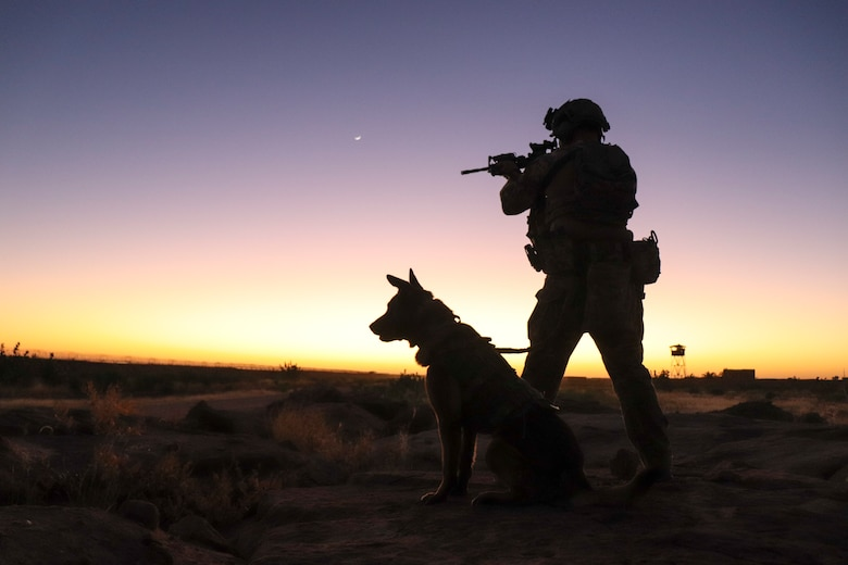 A military working dog handler and his military working dog
