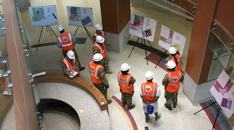 Members of the 85th Medical Brigade, Camp Humphrey, Republic of Korea, are briefed on the staging element for equipping and furnishing the new 772,000 square foot Brian Allgood Army Community Hospital and Ambulatory Care Center.