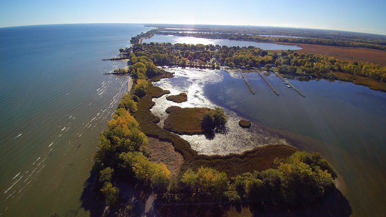 Two years ago, the U.S. Army Corps of Engineers, Buffalo District began a $10 million project to restore the Braddock Bay ecosystem in Greece, NY. Erosion had washed away emergent wetlands and invasive species dominated the marshes. Today, species-rich native communities blossom with emergent aquatic meadows, and restored beach habitat are visited by a variety of shorebirds including black-bellied plover, Baird's sandpiper, and the federally endangered piping plover.