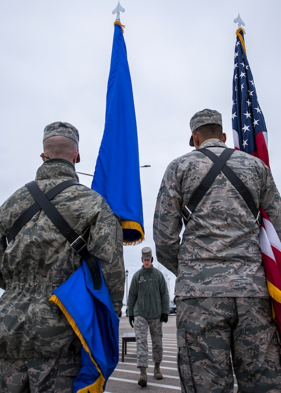 Staff Sgt. Mark Zajac, U.S. Air Force Honor Guard ceremonial guardsman training flight instructor, walks towards ceremonial guardsmen during funeral sequence training Dec. 7, 2018, at Mountain Home Air Force Base, Idaho. The U.S. Air Force Honor Guard held a ceremonial guardsman training course Dec. 3-12 to help the base honor guard maintain their skills during multiple member sequence training. (U.S. Air Force photo by Airman 1st Class Andrew Kobialka)