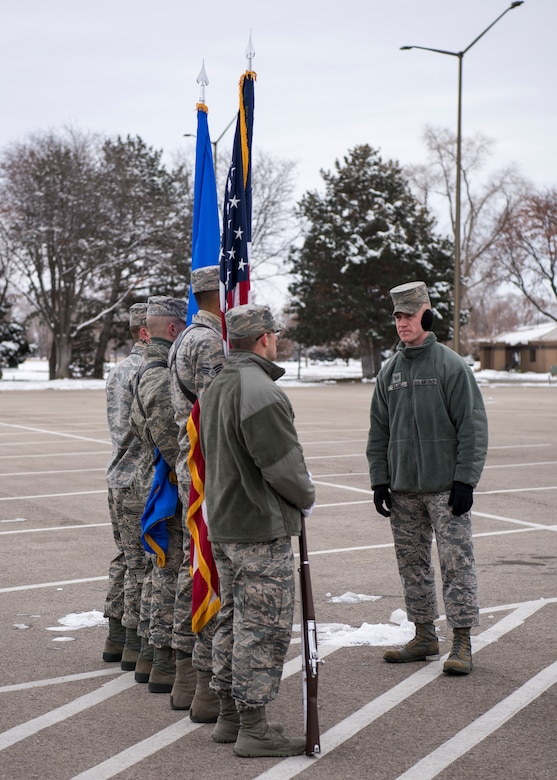 Staff Sgt. Mark Zajac, U.S. Air Force Honor Guard ceremonial guardsman training flight instructor, provides guidance to ceremonial guardsmen during funeral sequence training Dec. 7, 2018, at Mountain Home Air Force Base, Idaho. The U.S. Air Force Honor Guard held a ceremonial guardsman training course Dec. 3-12 to help the base honor guard maintain their skills during multiple member sequence training. (U.S. Air Force photo by Airman 1st Class Andrew Kobialka)