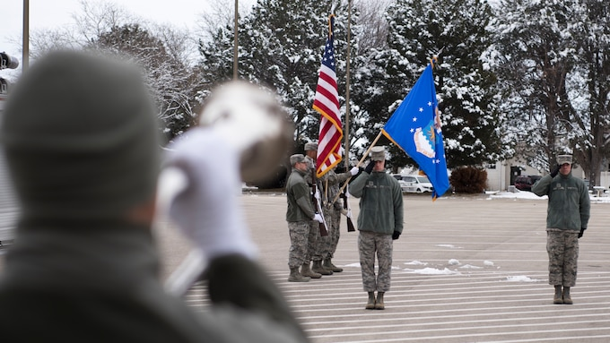 Staff Sgt. Mark Zajac, U.S. Air Force Honor Guard ceremonial guardsman training flight instructor, salutes during the playing of taps Dec. 7, 2018, at Mountain Home Air Force Base, Idaho. The U.S. Air Force Honor Guard held a ceremonial guardsman training course Dec. 3-12 to help the base honor guard maintain their skills during multiple member sequence training. (U.S. Air Force photo by Airman 1st Class Andrew Kobialka)
