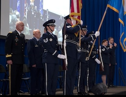 The 133rd Airlift Wing's Honor Guard present the colors during the annual Wing Awards Ceremony in St. Paul, Minn., Dec. 8, 2018.