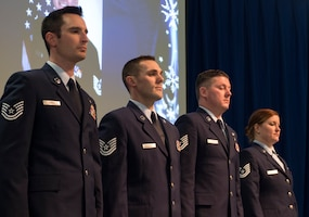 U.S. Air Force Airmen stood on stage during the annual Wing Awards Ceremony in St. Paul, Minn., Dec. 8, 2018.