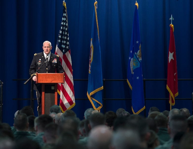 U.S. Army Maj. Gen. Jon Jensen, Adjutant General of the Minnesota National Guard, speaks to the Airmen of the 133rd Airlift Wing at the annual Wing Awards Ceremony in St. Paul, Minn., Dec. 8, 2018.