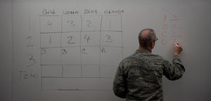 U.S. Air Force Chaplain (Capt.) Keith Beckwith writes on the white board in in St. Paul, Minn., Sept. 21, 2014.