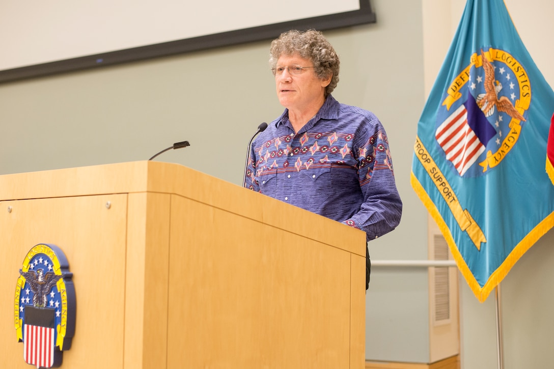 Rob Aptaker, the guest speaker and American Indian storyteller, speaks to the audience during a National American Indian Heritage Month program at DLA Troop Support, Dec. 11, 2018 in Philadelphia.