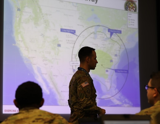 Army Capt. Richard Pfrogner, JTF-CS joint operations officer, course instructor briefs joint action officers and NCO's at Fort Eustis, Va., Dec 11, 2018. JTF-CS hosted a three-day Joint Operations Center (JOC) training course Dec. 11-13 educating the (DCRF) members on the art and science of employing an operation center in preparation for a catastrophic CBRN occurrence. When directed, JTF-CS is ready to respond in 24 hours to provide command and control of 5,200 federal military forces located at more than 30 locations throughout the nation in support of civil authority response operations to save lives, prevent further injury and provide critical support to enable community recovery. (DoD photo by U.S. Air Force Tech. Sgt. Michael Campbell/ Released)
